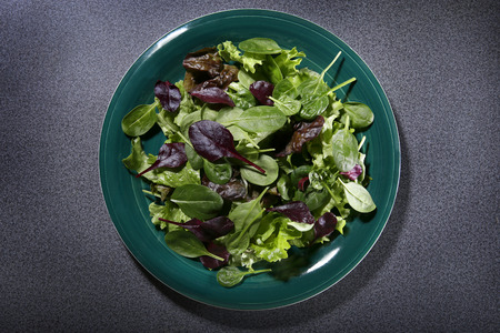 Plate with salad from above