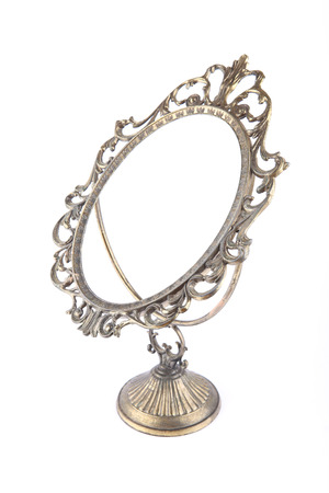 Vintage mirror frame in perspective on white background