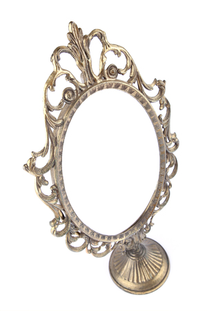 Vintage mirror in perspective on white background