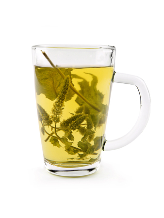 Melissa dry leaves tea in glass cup on the white background