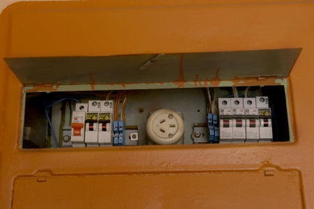 Home fuse box. Electrical equipment. Old fusebox in house. Old Fuse Box Home on old home front door, old home generator, old home gas tank, old home antenna,