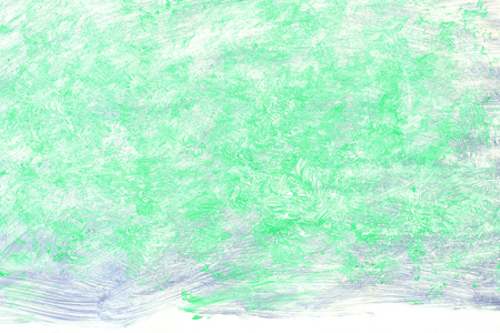Green, grey abstract background painting. Acrylic paint brushed texture on white paper.