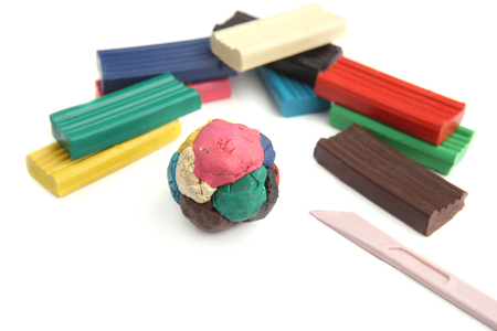 Childrens colored plasticine. Materials for creativity. Stock Photo