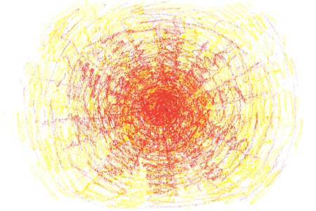 Hand drawn sun. Hot sun illustration painted with crayon.