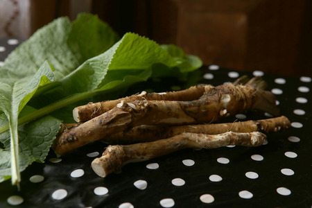 Horseradish root and leaves on table. Horseradish is a root vegetable used as a spice. Stock Photo