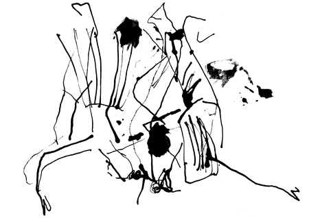 Abstract ink lines grunge background. Ink painting painted with stick. Stock Photo
