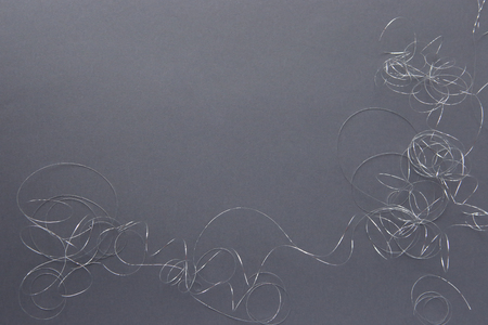 Abstract white silver thread pattern like frame. Background with abstract graphic line of silver white thread with empty place.