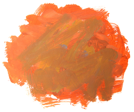 Abstract red painting isolated on white background. Artistic brushstroke texture background. Hand painted gouache brushstroke stains. Stock Photo