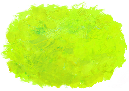 Abstract green painting isolated on white background. Artistic brushstroke texture background. Hand painted gouache brushstroke stain.