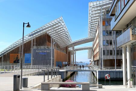 Oslo, Norway - July 24, 2018: Astrup Fearnley Museum of Modern Art. Astrup Fearnley Museum is a contemporary art gallery connects canals in the waterfront of Oslo in Aker Brygge district. Museum designed by Renzo Piano. It consists of two buildings. Editorial