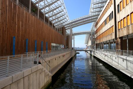 Oslo, Norway - July 24, 2018: View of Astrup Fearnley Museum of Modern Art. Astrup Fearnley Museum, contemporary art gallery in Aker Brygge district. Museum designed by Renzo Piano. It consists of two buildings.