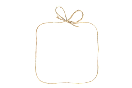 Rectangular frame with bow as gift box made of string isolated on white background. Empty frame made of linen twine or rope.