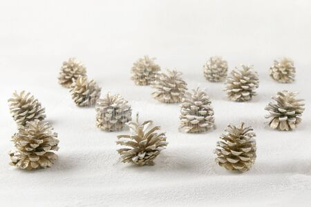 Christmas decoration cones covered snow made of icing sugar. Christmas forest concept background. Golden colored pine cones covered sugar powder.