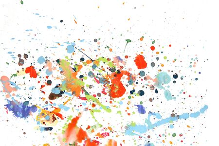 Abstract paint splashes and drops isolated on white background. Colorful spots of gouache paint.