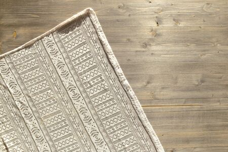 Vintage lace pattern cloth and wood board texture