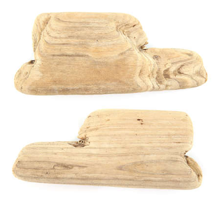 Driftwood isolated on white background. Pieces of sea drift wood.