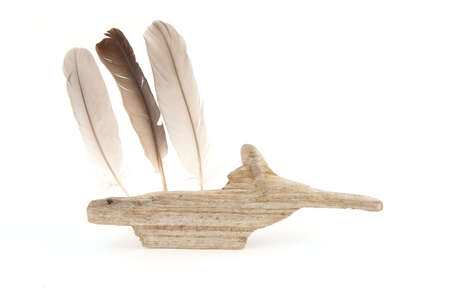 Driftwood creature with feathers isolated on white background. Sea beach theme decoration. Coastal composition of small nature details.