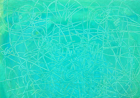 Acrylic abstract painting background with expressive lines texture. Grunge hand drawn blue green background.