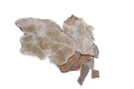 Metamorphic rocks of Norway isolated on white background.   Small pieces of real slate rocks from Oslo fjord.
