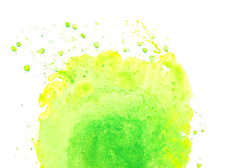 Watercolor hand drawn spring or summer illustration background. Abstract green acrylic paper texture stain isolated on white background.