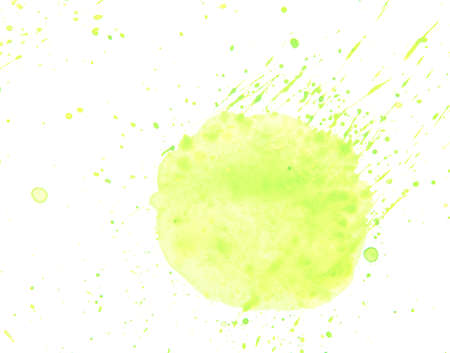 Watercolor acrylic hand drawn drop splatter isolated on white background. Abstract yellow acrylic paper texture stain  illustration.