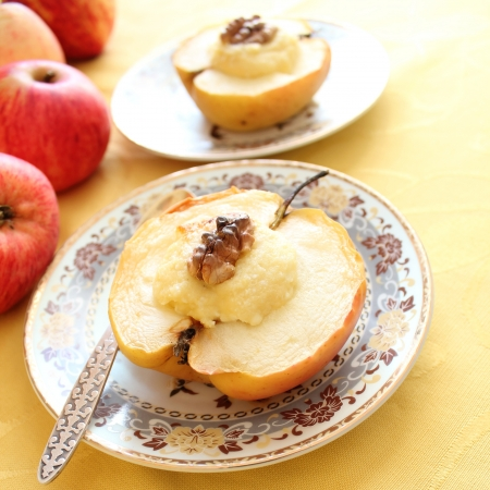 Baked apple with cottage cheese and nuts photo