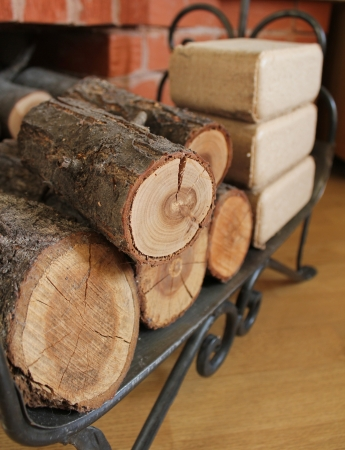 Firewood and briquettes for heating photo