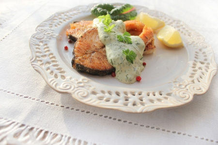 l nutrient: Roasted salmon with sauce Stock Photo