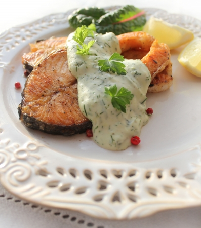 l plate:  Roasted salmon with sauce