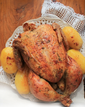 Roasted whole chicken photo