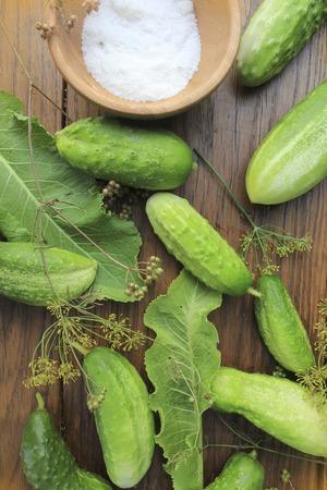pickling: preparing cucumbers for pickling