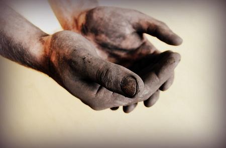 Vintage photo of dirty hands 写真素材