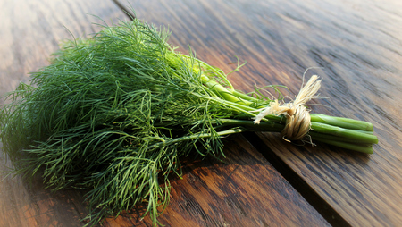 freeze dried: Dill on wooden table Stock Photo