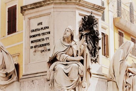 isaiah: Biblical Statues at Base of Colonna dellImacolata in rome, Italy  March 11, 2015 Editorial