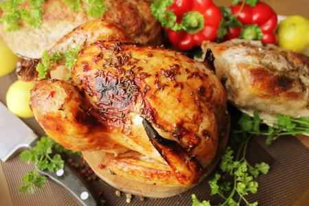 meatloaf: Roasted whole chicken, fillet, meatloaf