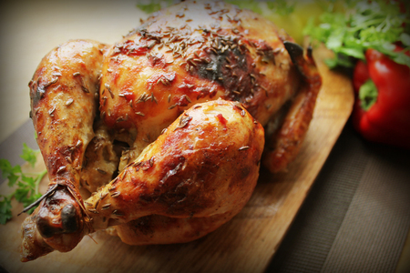 fried: Grilled whole chicken with cumin seeds Stock Photo