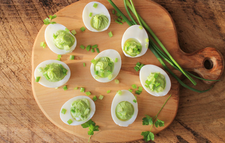 deviled eggs appetizer with avocado