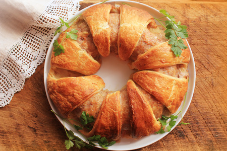 meatloaf: Meatloaf ring baked in pastry Stock Photo