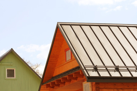 trussing: house with a roof made of metal sheets Stock Photo