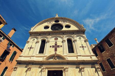 fasade: Church Santa Maria dei Miracoli, Venice, Italy Stock Photo