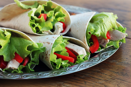 Save Download Preview tortilla wraps with grilled chicken and vegetables