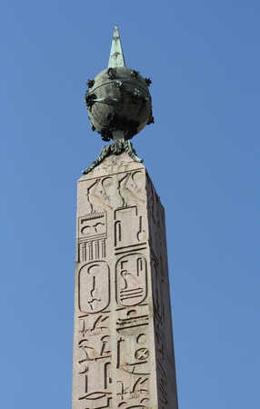 pius: The huge granite obelisk of Montecitorio was brought to Rome from Heliopolis in Egypt by Emperor Augustus in 10 BC. It was erected in its present location in 1792 by Pope Pius VI. Stock Photo