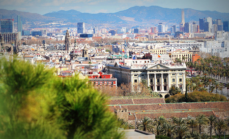 Panoramic aerial view of city Barcelona , Catalonia, Spain