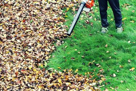 나뭇잎 송풍기 도구를 사용하여 나뭇잎을 치우는 정원사 스톡 콘텐츠