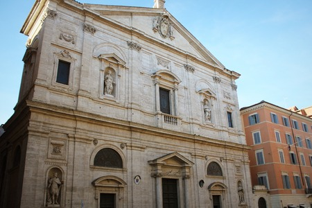 The Church of St. Louis of the French was designed by Giacomo della Porta and built by Domenico Fontana between 1518 and 1589 in Rome, Italy Stock Photo