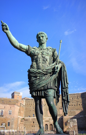ROME, ITALY - Bronze statue of Augustus, the first emperor of Rome and father of the nation, Rome, Italy. Stock Photo
