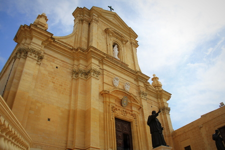 The Gozo Cathedral inside the Citadel of Victoria or Rabat - Victoria, Gozo, Malta Reklamní fotografie