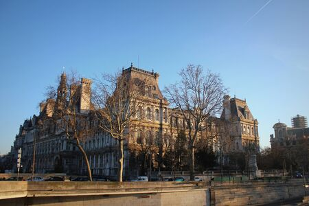 Hotel-de-Ville (City Hall) in Paris - building housing City of Pariss administration. Building was constructed between 1874 -1882, architects Theodore Ballou and Edouard Deperta. France.