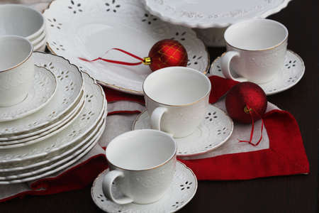 Christmas background with an empty plate. decorations for the New Years table. Concept Christmas, new year,food