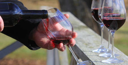 Man hand pouring red wine from the bottle into glasses with friends outside